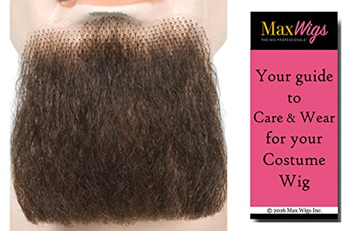 3 Point Goatee Color Brown - Lacey Wigs Beard Human Hair Lace Backed Hand Made Fake Facial Bundle with MaxWigs Costume Wig Care Guide