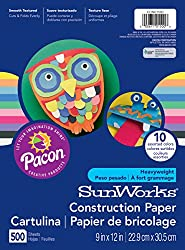 Pacon Sunworks Heavyweight Construction Paper 9-inches By 12-inches 500-count Assorted (Con01500)