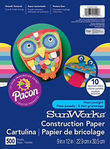 Assorted Paper Construction - SunWorks Construction Paper, 10 Assorted Colors,  9