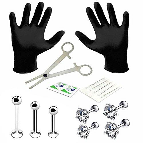BodyJ4You 15PC PRO Piercing Kit Steel 16G Square CZ Labret Tragus Monroe Stud Barbell Body Jewelry (Kit Monroe Piercing)