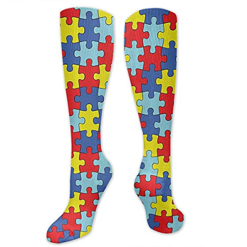 Oswz Colorful Jigsaw Puzzle Graduated Compression Socks for Men & Women Best Stockings for Nurses, Travel, Running, Maternity Pregnancy