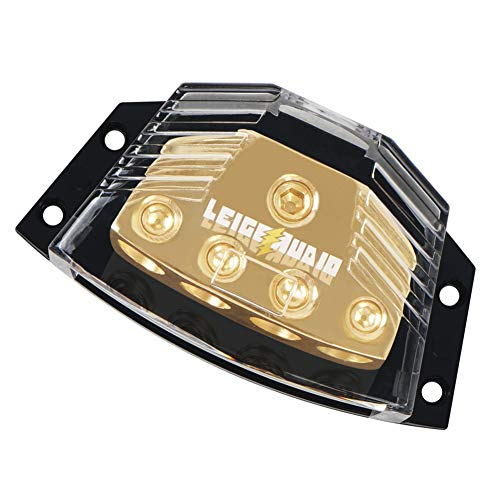 LEIGESAUDIO Copper 0/2/4 Gauge in 4/8/10 Gauge Out Amp Power Distribution Block for Car Audio Splitter (1 in 4 Out) (10 Gauge Amp)