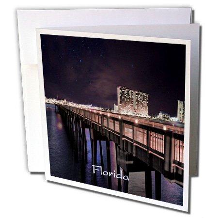 3dRose Florida - Image of Panama City Pier At Night - 12 Greeting Cards with envelopes - City Panama Pier