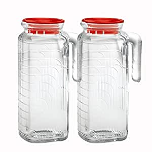 Bormioli Rocco Gelo Glass 1.2 Liter Jug with Red Lid, Set of 2