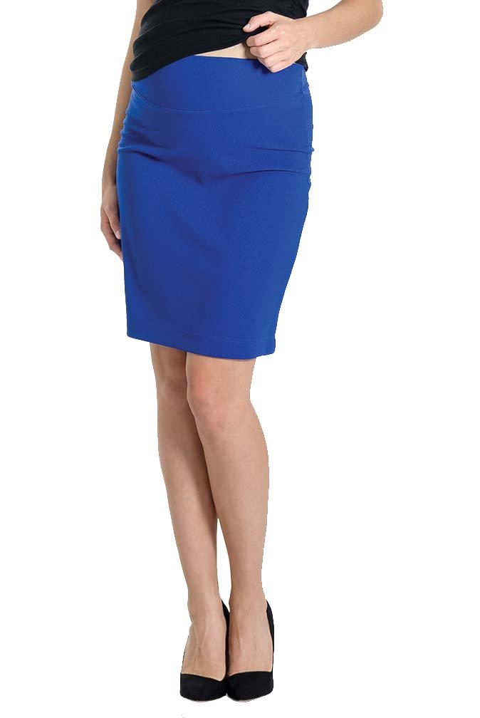 Lilac Pencil Maternity Skirt - Solid - Cobalt - Medium