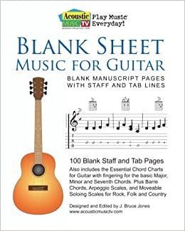 Buy Blank Sheet Music For Guitar: Blank Manuscript Pages With Staff And Tab  Lines, 100 Blank Staff And Tab Pages Book Online At Low Prices In India |  Blank ...