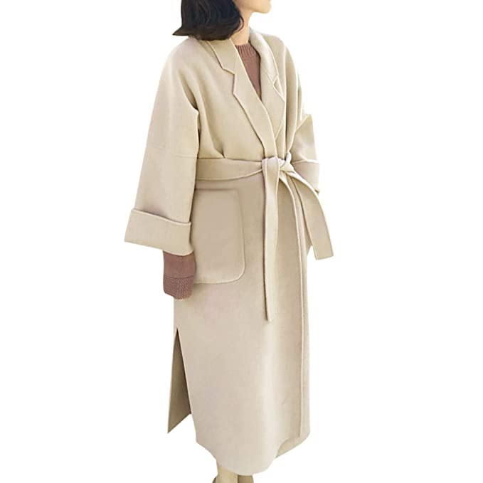 Amazon.com: Besde Womens Autumn and Winter Fashion Classic Hepburn Woolen Trench Coat Double-Sided Cashmere Loose Long Sleeve Decorative Belt Coat: Garden ...