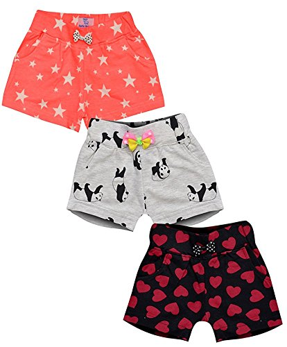 Aatu Kutty Girls Casual Multicolour Cotton Shorts Fashion for Infants, Toddlers, Pack of 3 by Aatu Kutty