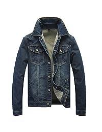 Joyi Men Cotton Vintage Long Sleeves Denim Jacket Jens Cowboy Coat Outwear