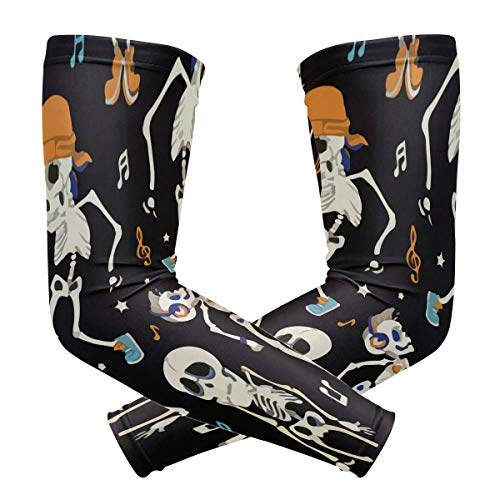 Dancing Skeletons Boy Party Halloween Arm Sleeve Compression Elbow UV Sun Protection Sleeve for -