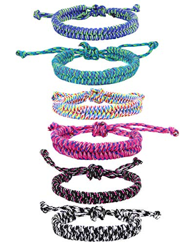 6 PCS Friendship Bracelets for Teens, VSCO Friendship Rope Bracelets for Kids, Survival Paracord Friendship Bracelets for Kids, VSCO Girl Stuff, Party Favors, Easter Basket Stuffers