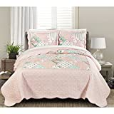 3 Piece Beautiful Pink Green Full Queen Quilt Set, Floral Patchwork Themed Bedding Shabby Chic Rose Classic French Country Cottage Antique Pastel Vintage Flower Striped Scalloped, Cotton