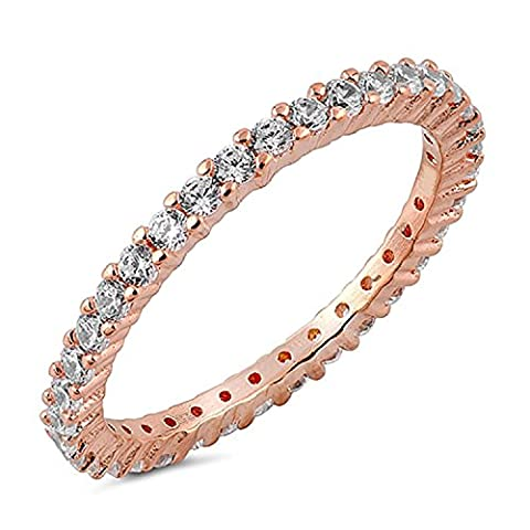 CZ Paved Stackable Eternity Ring Diamond Wedding Band in Rose Gold Size 7