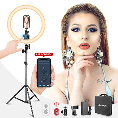 Neewer Ring Light Kit:18″/48cm Outer 55W 5500K Dimmable LED Ring Light, Light Stand, Carrying Bag for Camera,Smartphone,YouTube,Self-Portrait Shooting, Black, Model:10088612