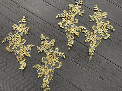 A110 TWO Pairs Gold Color Lace Appliques ,Wedding Applique, Lace Appliques, Embroidered Appliques