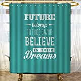 Motivational Shower Curtains Mildew Resistant Hipster Letters Saying Advice Believe in Your Dreams Have Faith in Yourself Bathroom Decor Set with Hooks 54''x84'' Teal White