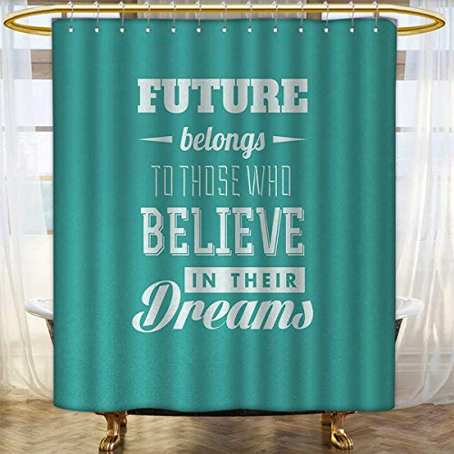 Motivational Shower Curtains Mildew Resistant Hipster Letters Saying Advice Believe in Your Dreams Have Faith in Yourself Bathroom Decor Set with Hooks 54''x84'' Teal White by Anhounine