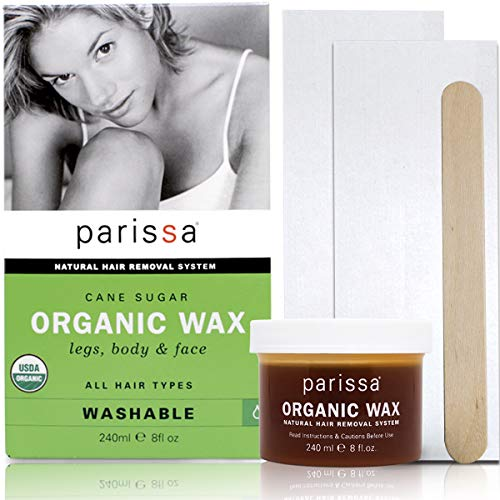 Organic Sugar Wax Kit (240 ml), Parissa Hair removal waxing Kit for legs, body, Underarms & Face (Best Sugar Wax Brand)