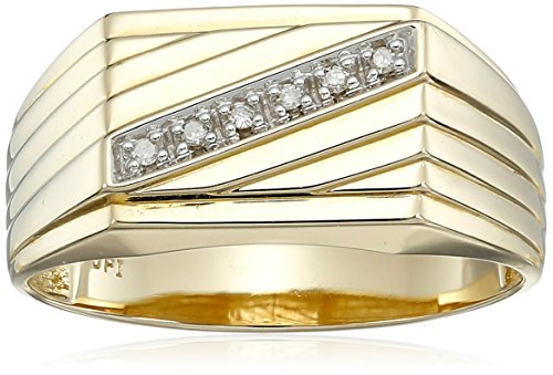 Men's 10k Yellow Gold Diagonal Diamond Ring, (0.03 cttw, I-J Color, I2-I3 Clarity) Size 10