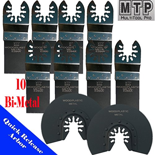 MTP Tm 10 Japan / Bi-metal/ Fine Quick Release Universal Fit Multi Tool Oscillating Multitool Saw Blade for Craftsman 20v Bolt-on Mm20 Rockwell Hyperlock Shopseies 12v Universal Fit Porter Cable Black and Decker Bosch Tool Free Quick Release Fit