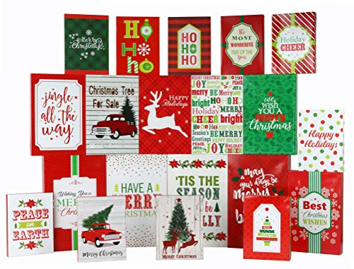 Iconikal Christmas Printed Gift Boxes Traditional and Contemporary Designs, 3 Sizes, 20 Pack