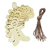 Christmas Wooden Laser Cut Pendant with Hemp Rope Rustic style Crafts Tree Hanging Ornament 20pcs (Biscuit Kids)