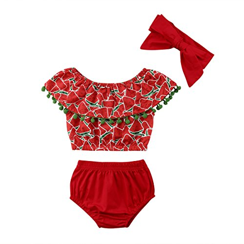 0bc366e8e52d 0-24Months Baby Girls Watermelon Outfit Set Clothes,Off Shoulder Design