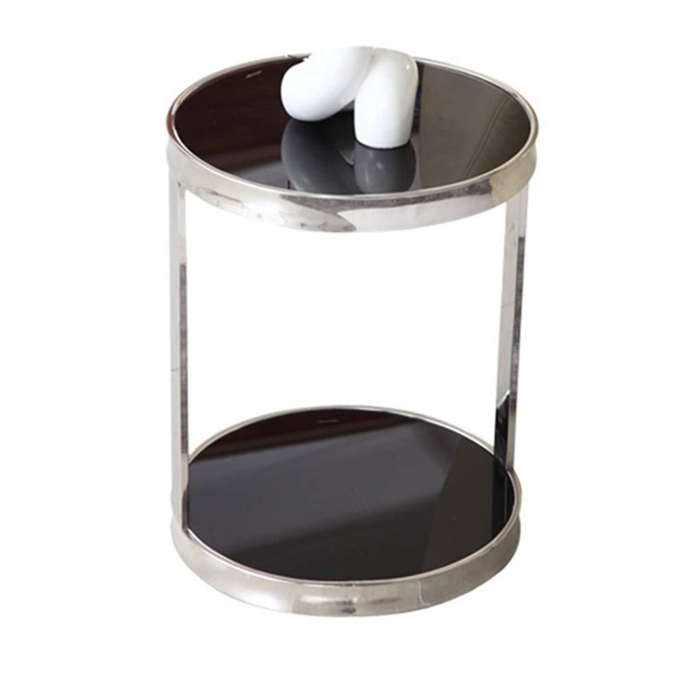 NAN Table Ronde en Verre Noir en Acier Inoxydable Salon Moderne en Coin Rond Table à thé en Verre avec Plusieurs Chambres  -