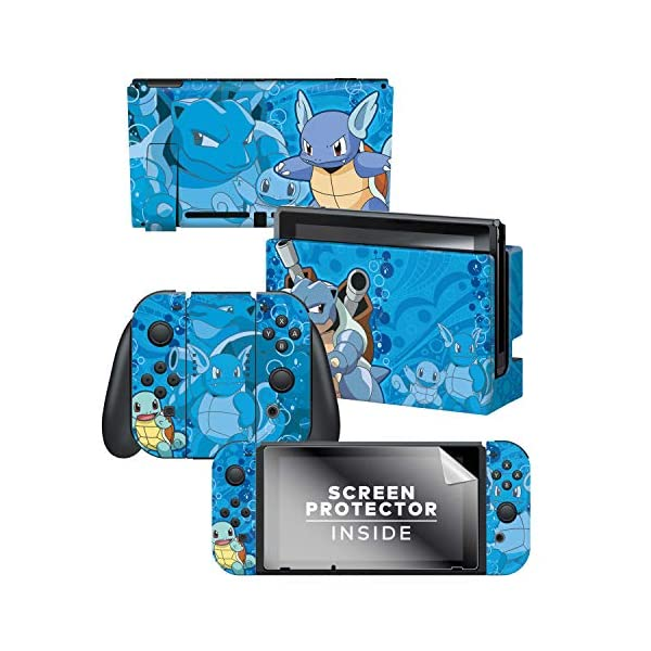 Controller Gear Nintendo Switch Skin & Screen Protector Set - Pokemon - Squirtle Evolutions Set 1 - Nintendo Switch 1