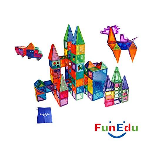 FunEdu 100 Piece Magnetic Tiles Building Set