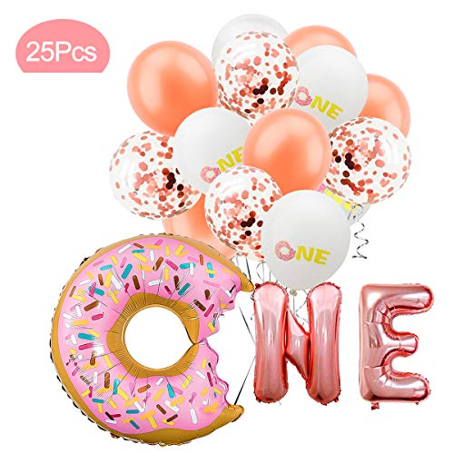 Donut Balloon Kit - 26Pcs - First Birthday Party Decorations - Donut One Foil Letter Balloons | 7Rose Gold Balloon | 7Rose Gold Confetti Balloon | 7ONE Printed Balloon | - Birthday 1st Balloon Party