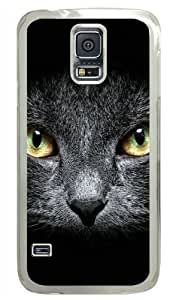 Animal Dark Cat Absence of Mind Fit Samsung Galaxy S5 I9600 Transparent Hard Shell Material Cover PC Case hjbrhga1544