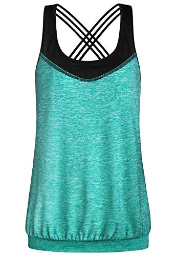 (Miusey Camisole for Women,Racerback Working Out Tank Top Round Neck Spaghetti Strap Cross Back Flattering Loose Fitting Banded Bottom Contrasting Basic Tee Shirts Space Dye Green XXL)