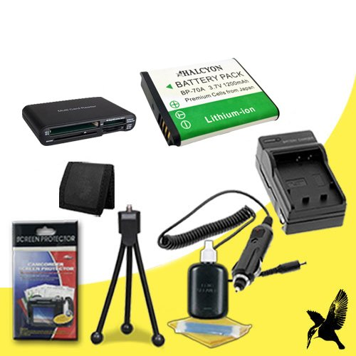 Halcyon 1200 mAH Lithium Ion Replacement BP-70A Battery and Charger Kit + Memory Card Wallet + Multi Card USB Reader + Deluxe Starter Kit for Samsung MV800 MultiView Digital Camera and Samsung BP-70A by Halcyon