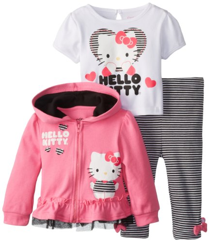 Hello Kitty Baby Baby-Girls Infant 3 Piece Jacket Set with Glitter Screenprint, Multi, 24 Months
