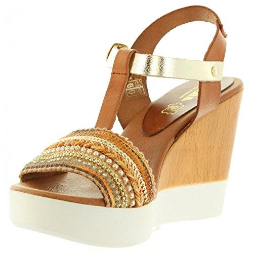 Sandalias de Mujer CUMBIA 30116 CUERO-ROBLE-PLATIN