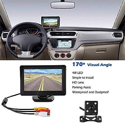 ROSEBEAR Vehicle Backup Cameras System and 4.3 LCD Monitor Wired Car Rear View Kit HD IR Night Vision Reversing Camera for Cars,SUVs,Vans,Pickups,Trucks,Rear//Front View Camera Adjustable