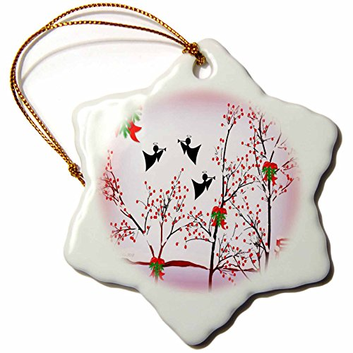 Things Christmas - Angels And Trumpets - red glow - 3 inch Snowflake Porcelain Ornament (orn_6521_1) ()