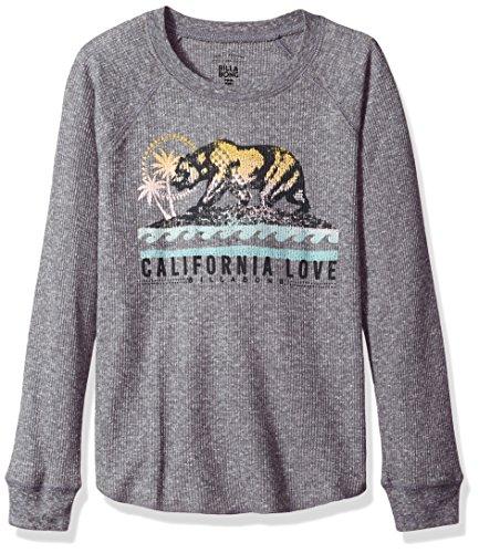- Billabong Girls' Big Cali Bear Original Long Sleeve Tee, Dark Athletic Grey S
