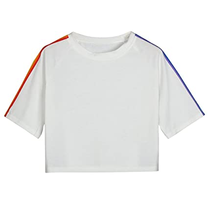 95bd886679 Amazon.com: Snowfoller Women Rainbow Striped Tee Simple Fashion ...
