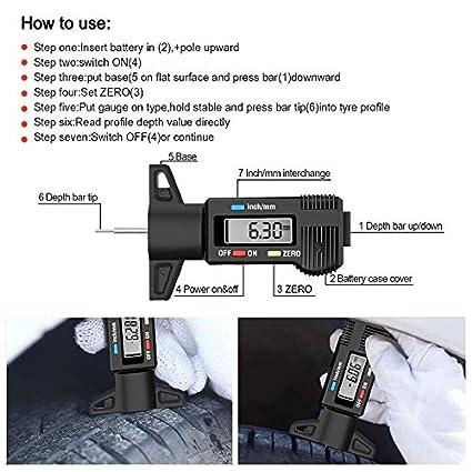 Voiture GFEU Jauge de Profondeur de Pneu num/érique Portable 0-25,4 mm avec Grand /écran LCD Pouces//mm r/églable Outil de Mesure de la Profondeur de roulement pour Moto camionnette Camion