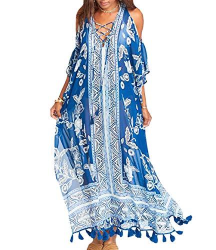 Sequined Caftan - Bestyou Women's Print Turkish Kaftans Chiffon Caftan Loungewear Beachwear Bikini Swimsuit Cover Up Dress (Blue D)