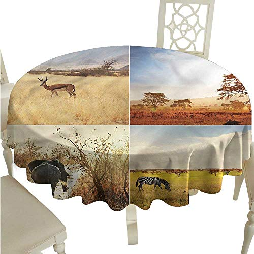 Round Tablecloth Plaid Safari,Wild Savannah Animal,for Bistro Table (Savannah Bistro)