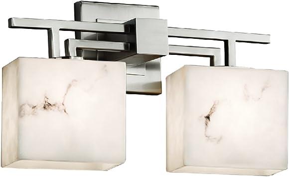 Justice Design Group Lighting ALR-8592-55-NCKL-LED2-1400 Archway 2-Light Bath Bar-Rectangle Shade-Brushed Nickel-Alabaster Rocks-LED