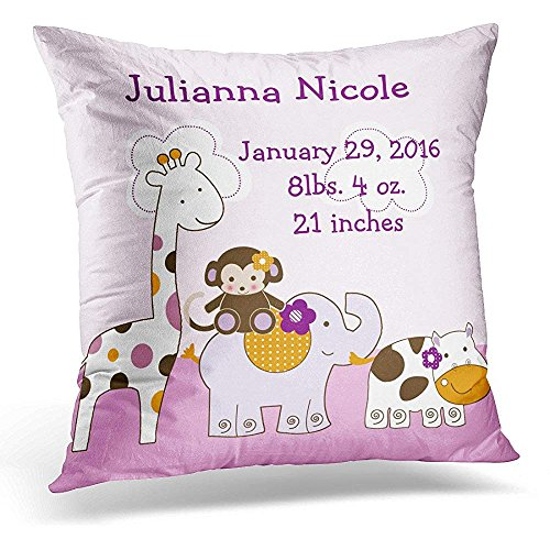 Throw Pillow Cover Pink Baby Personalized Jacana Girl Keepsake Cute Unique Decorative Pillow Case Home Decor Square 20 x 20 Inch Pillowcase -