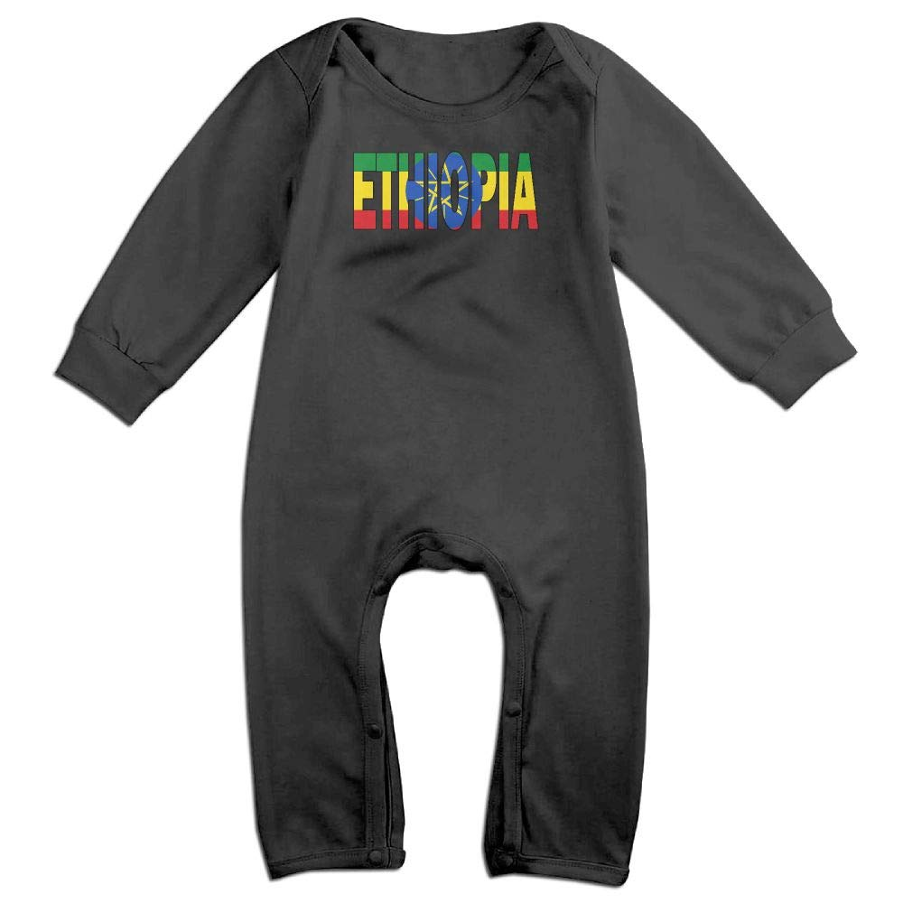 UGFGF-S3 Ethiopia Flag Long Sleeve Infant Baby Boy Girl Baby Romper Jumpsuit Onsies for 6-24 Months Bodysuit