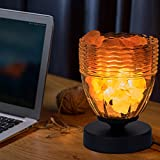 Natural Himalayan Rock Pink Salt Lamp in Clear Glass Holder, Release Negative Ions to Purify Air with Dimmer Switch and UL-Listed Cord Included (Black)