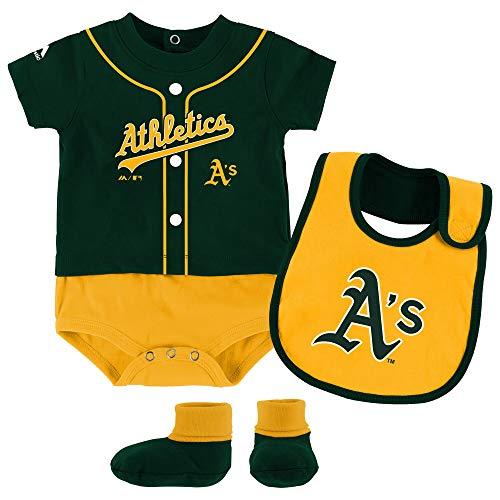 - Outerstuff MLB Newborn Infants Tiny Player Creeper, Bib, and Bootie Set (12 Months, Oakland Athletics)