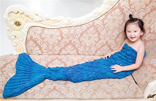 LAGHCAT Mermaid Tail Blanket Knit Crochet and Mermaid Blanket for Kids,Sleeping Blanket (56X28, Scale Lake Blue)