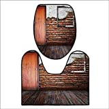 qianhehome 2 Piece Extended Bath mat Set Picture Frame Put On A Damaged Brick in Aged Old Rustic Wooden Floor 2 Piece Toilet Cover Set L17.32 x W15.35-W14.96 x H15.74